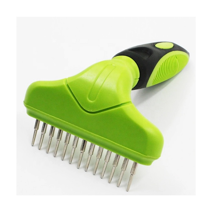 Pet Comb Stainless Steel Single Row Rotatable Pins Dog Brush