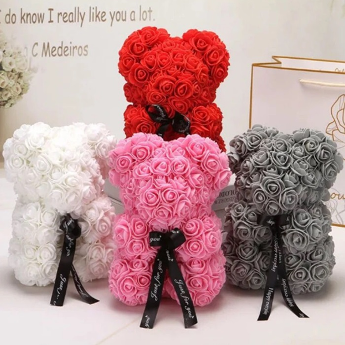 Wholesale 25cm Red Roses Flower Foam Teddi Bear Best Valentines Day Gift for Girlfriend Rose Bear Artificial Flower Bear