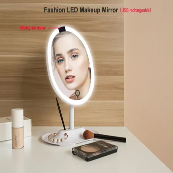 Oval Shape Automatic Sensor Make up Mirror LED 5X Magnifying Motion Sensor Make up